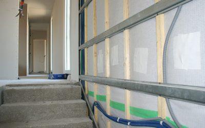 isolation de murs en ouate de cellulose avec membrane freine vapeur